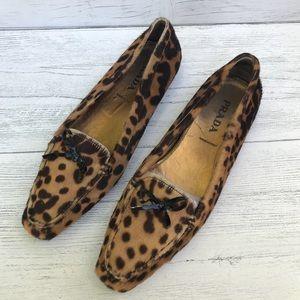 Prada Pony Hair Leopard Print Loafers